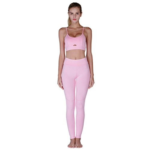 Caopixx Yoga Pants, Women Yoga Tracksuit Set Running Leggings Skinny Hollow Out Vest Stretch Trousers (Asia Size L, (Tesla Ankle High Black Shoes)