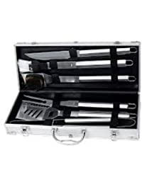 Access 6 Piece Stainless Steel Barbeque Tool Set in a Polished Aluminum Case #BB4112 dispense