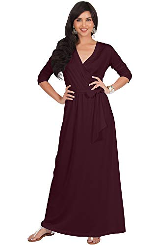 KOH KOH Plus Size Womens Long 3/4 Half Sleeve Sleeves Flowy V-Neck Casual Fall Winter Empire Waist Evening Cute Full Floor-Length Gown Gowns Maxi Dress Dresses, Maroon Wine Red 3XL - Plus Wrap Size 3 Dress 4 Sleeve