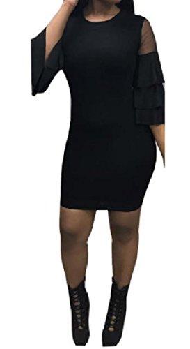 Coolred-femmes Maille Robes Sexy Une Étape Bodycon Épissures Club De Soirée Noire