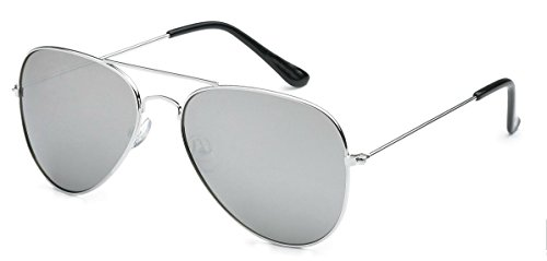 WebDeals - Aviator Silver Mirror or Color Mirror Metal Frame Sunglasses (Air Force, Silver Mirror Classic)