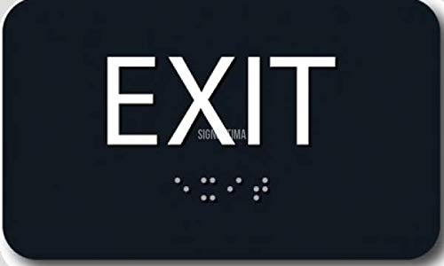 EXIT Sign with Braille Tactile Letters, ADA Compliant, 6