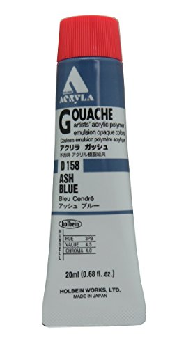 Holbein Acryla Gouache Artists Acrylic Polymer Emulsion, 20ml Ash Blue (D158)
