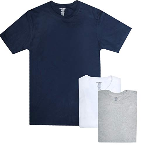 Lucky Brand Men\'s Crew Neck Cotton Undershirt T-Shirt (3 Pack) (X-Large, Navy/Grey/White)'