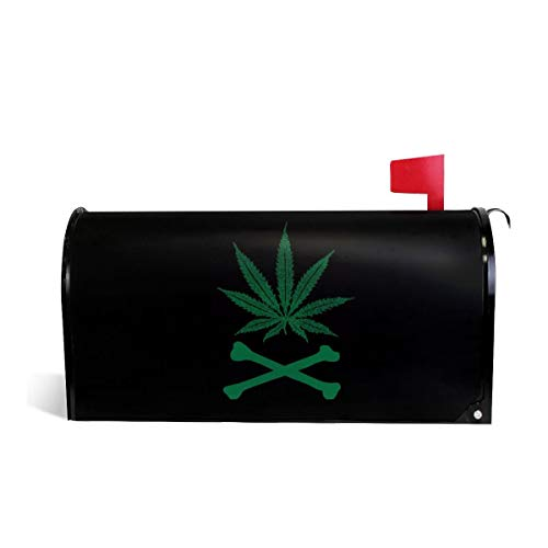 Mefond Magnetic Mailbox Cover Weed Leaf Post Letter Box Wraps Garden Yard Home Decor for Outside Oversized 25.5