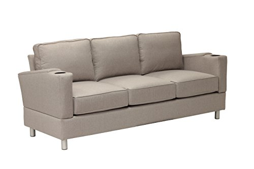 Simplicity Sofas 13ACHSEEFF-SS the Designer Collection Solid Oak Frame RTA Full Size Sofa for Small and Tight Places with cup holders, Sand Stone