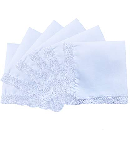 - 6 Pack of Ladies Embroidery Cotton Handkerchiefs Lace Border White Hankies