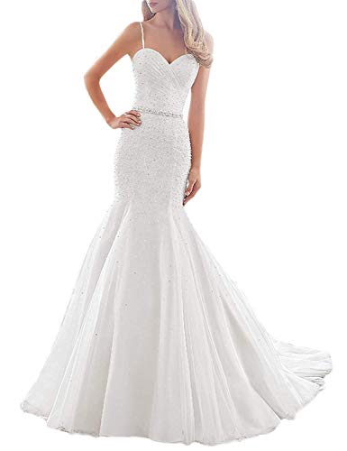 (Sherry Bridal Women's Spagetti Straps 2019 Lace Tulle Mermaid Wedding Dress with Diamond Beading Belt SH77 Ivory 24W)