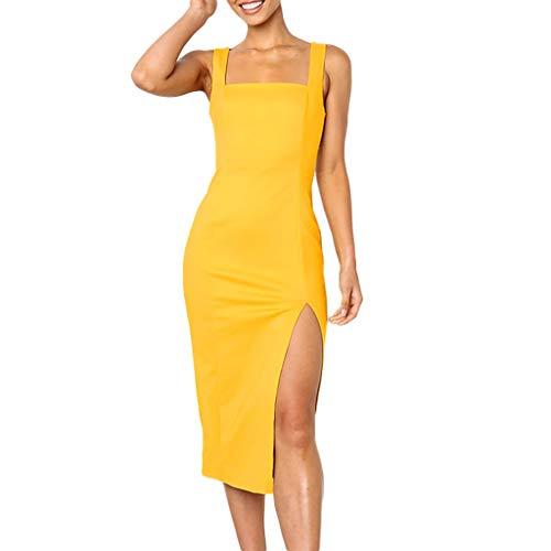 Xinantime High Split Dress Women Elegant Sleeveless Off Shoulder Pencil Party Bodycon Slim Min Dress -