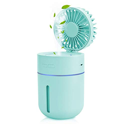 (Portable Misting Fan, Wireless Cool Mist Humidifier with Fan, Rechargeable Battery Powered 400ml Large Capacity Humidifiers Spray Fan with Night Light for Outdoor Travel Home Office)