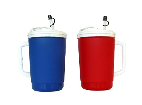 2 32 Ounce  Blue & Red Insulated Mugs, Lid Drink-Thru or