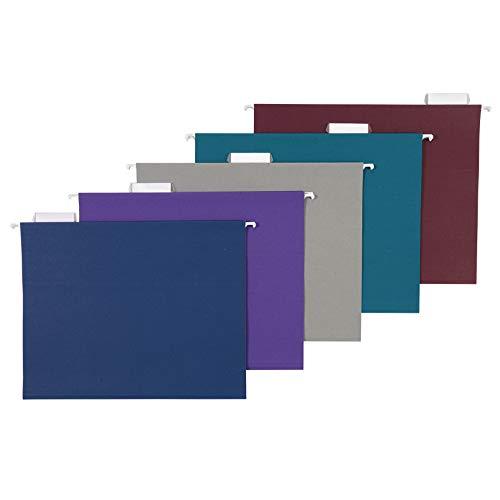 AmazonBasics Hanging Folders, Letter Size, Jewel-Tone Colors(Assorted), 25 Per Box