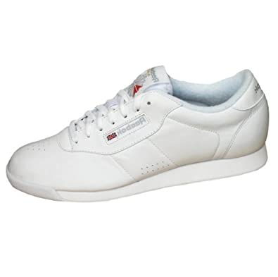 34b4bf98bf8 Reebok Classic Womens Princess Leather Casual Gym Trainers Shoes white UK  9.5  Amazon.co.uk  Shoes   Bags