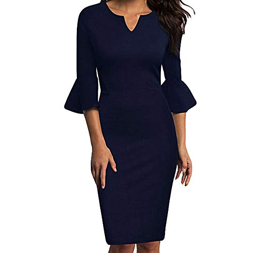 Women Elegant Solid Ruffle 1/2 Sleeve V-Neck Office Work Slim Fit Business Cocktail Midi Pencil Dress(Navy,XL -