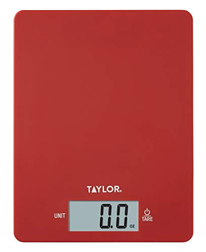Taylor Precision Products Red 11lb Ultra Thin Digital Kitchen Scale, 0.37 inches