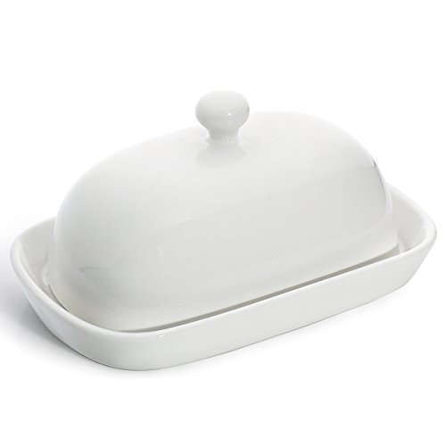 Sweese 3164 Porcelain Cute Butter Dish with Lid, Perfect for East/West Butter, White