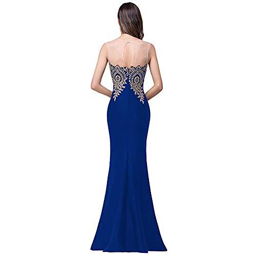 Women Blue For Formal color S Vestido Vestidos Size Auming Encaje Mermaid Evening Mangas Sin Cuello Dama Maxi Honor Baile Apliques Dress Deep Largos De S14w8