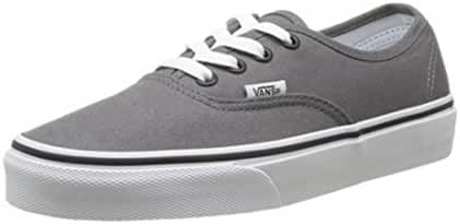 Vans Unisex Authentic Solid Canvas Skateboard Sneakers (4 D(M) US, PEWTER/BLACK)