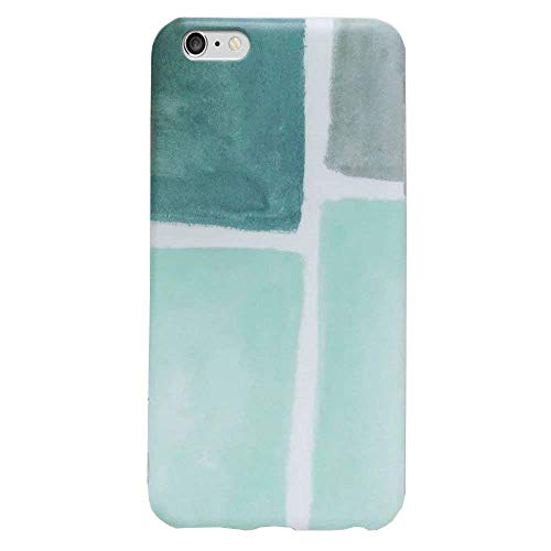(J.west iPhone 6s Plus Case, Cute Phone Case Girls Unique Geometric Pattern Flexible Thin Slim Fit Snap On Soft TPU Rubber Silicone Protective Case Cover for Apple iPhone 6 Plus /6s Plus Mint Green)
