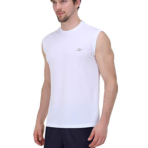 e3fd74370a72a cm Men's Dry Fit Workout Running Athletic Sleeveless Shirts White Large