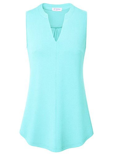 Bulotus Light Blue Shirts for Women Ladies Sleeveless V-Neck Soft Tank Tops Light Blue S