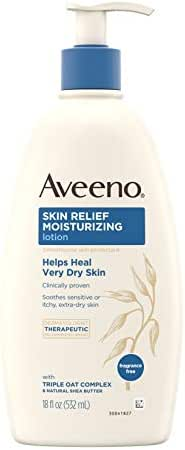 Aveeno Skin Relief 24-Hour Moisturizing Lotion for Sensitive Skin with Natural Shea Butter & Triple Oat Complex, Unscented Therapeutic Lotion for Extra Dry, Itchy Skin, 18 fl. oz