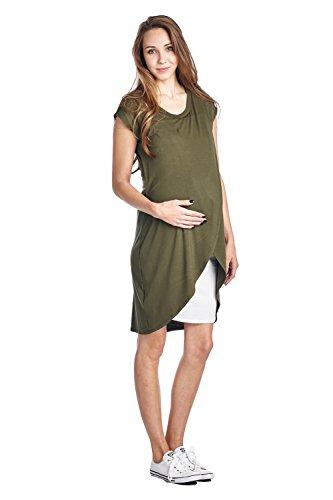 Hello MIZ Color Block Asymmetrical Breastfeeing Maternity Nursing Dress