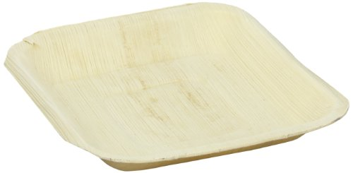"PacknWood Palm Leaf Square Plate, 6.3"" x 6.3"" (Case of 100)"