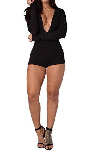 Women Deep V Neck Long Sleeve Hooded Clubwear Bodycon Short Jumpsuit Rompers Black S (Hooded Short Romper)