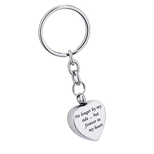 misyou Always in My Heart Heart Cremation Urn Keychain Pendant Ashes Keepsake Key Chain with Velvet Pouch & Fill Kit (No Longer by My Side Forever in My Heart)