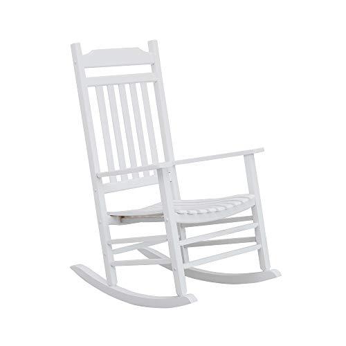 B&Z KD-30W Wooden Rocking Chair Porch Rocker Outdoor Classic Indoor (White)