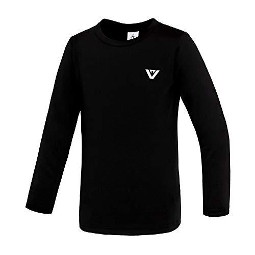 Performance Long Tee Sleeve (KISPO Youth Athletic Performance Long Sleeve Tee Shirts for Boys Girls 6-14 (Black, 9))