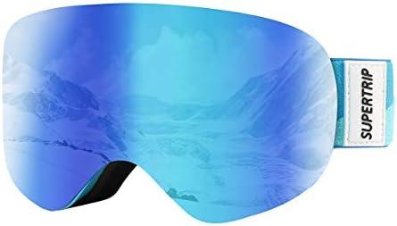 Supertrip Kids Ski Goggles Boys Girls Over The Glasses Anti Fog Snow Snowboard Goggles UV Protection Helmet Compatible Non-Slip Strap Double Lens for 7-13 Year Children