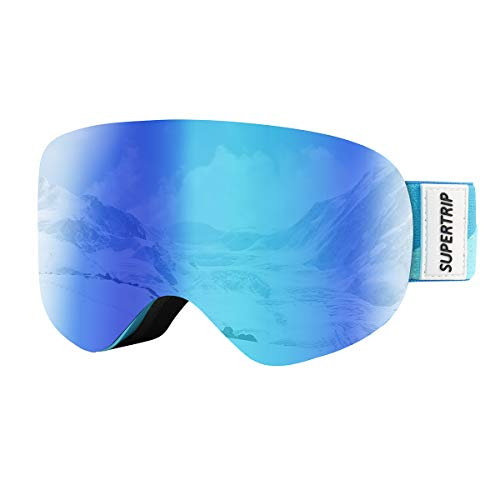 Supertrip Kids Ski Goggles for Boys & Girls Over The Glasses Anti Fog Snow Snowboard Goggles UV Protection for 7-13 Year Old Children (Gray Revo Blue (VLT ()