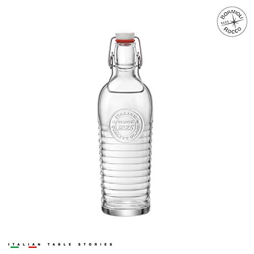 Bormioli Rocco Officina Water Bottle | 40.5oz, Italian Glass Pitcher | Airtight Seal & Metal Clamp | Easy To Carry Handle, Dishwasher Safe & Eco-Friendly | Safe For Infused & Carbonated Drinks