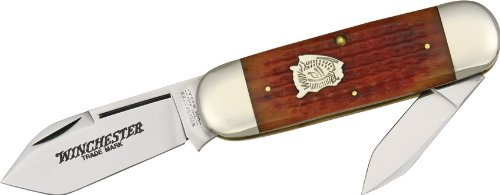 Winchester Knives 29112BH Buffalo Head Series Sunfish Pocket Knife with Burnt Orange Jigged Bone Handles