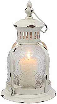 Stonebriar Off Antique Worn White Metal Candle Lantern, Decoration for Birthday Parties, a Rustic Wedding Cent