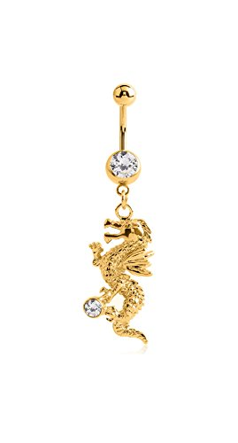 Pupick Bellybutton Ring Body Piercing Jewelry Gold Plated Brass Surgical Steel Crystal Jeweled Navel Banana With Dragon Charm 14g Multiple Style