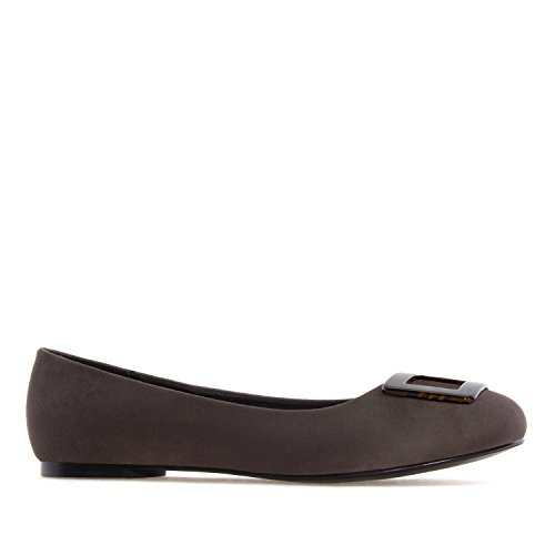 Andres Machado AM5223.Ballet Flats in Suede/Patent, with Detail.Large Sizes:UK 8 to 10.5/EU 42 to 45. Grey Suede