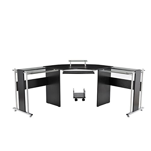HOMCOM 69' Modern Symmetrical Corner L-Shaped Smoked Glass Top Computer Desk