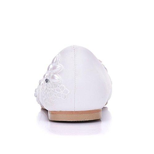 Scarpe Punta Appartamenti Size White Flower Sposa 96 Da Plus Ager Da Donne Abito Scarpe Sposa 2018 EU38 Partito A Appartamenti Ballerine Punta HHPpqn7