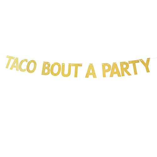 Church Anniversary Banner - Gold Glitter Taco Bout A Party Banner Mexican Theme Party Decorations Bunting Photo Booth Props Signs Garland