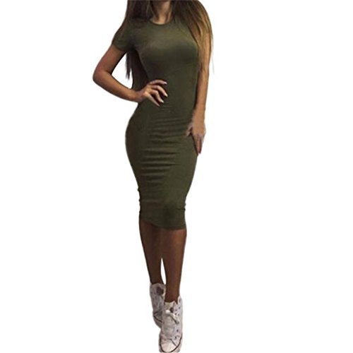 Women Dress,Haoricu Autumn Winter Women Fashion Solid Short Sleeve Slim Knee-Length Dress (L, Green)