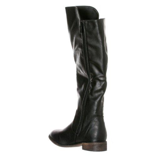 Breckelles Womens Clayton-12 Zipper Riding Knee High Boots Black iicbc