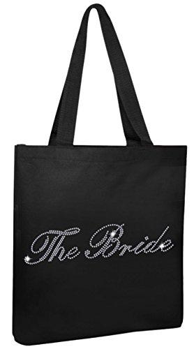 Black The Bride Luxury Crystal Bride Tote bag wedding party gift bag Cotton