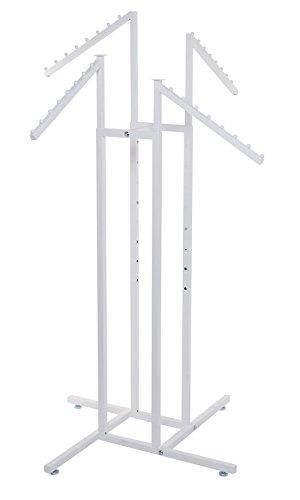 (SSWBasics White 4-Way Clothing Rack with Slant Arms)