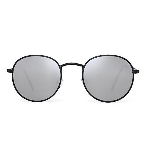 Polarized Small Round Sunglasses Retro Mirror Circle Lens Metal Frame Men Women (Black / Polarized - Polaroid Cheap Sunglasses