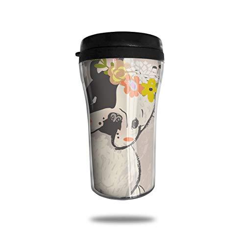 (Little Cute Sitting Bulldog with Wreath On Head Fashion Travel Coffee Mugs Office Cup Tea Mug)