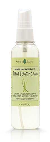 Lemongrass Scent - Thai Lemongrass Linen & Room Spray - Natural Aromatic Mist Made with PURE LEMONGRASS ESSENTIAL OIL - Relax Your Body & Mind – Perfect as a Bathroom Air Freshener Odor Eliminator by Positive Essence