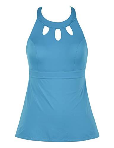 Septangle Women's Black Halter Tankini Top Cross Back Bathing Suit (Turquoise, US 14) (High Top Swim Suits Women)